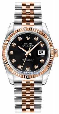 Rolex Datejust 36mm Stainless Steel and Rose Gold 116231 Black Diamond Jubilee