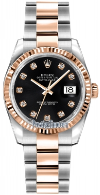 Rolex Datejust 36mm Stainless Steel and Rose Gold 116231 Black Diamond Oyster