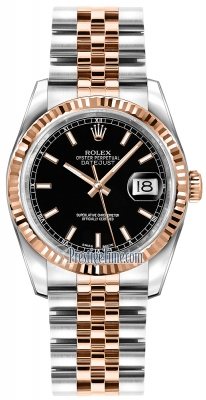 Rolex Datejust 36mm Stainless Steel and Rose Gold 116231 Black Index Jubilee