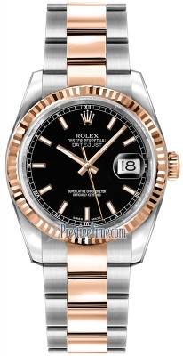 Rolex Datejust 36mm Stainless Steel and Rose Gold 116231 Black Index Oyster