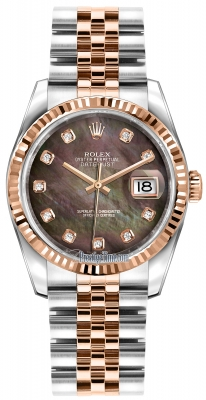 Rolex Datejust 36mm Stainless Steel and Rose Gold 116231 Black MOP Diamond Jubilee