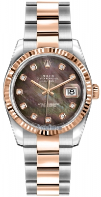Rolex Datejust 36mm Stainless Steel and Rose Gold 116231 Black MOP Diamond Oyster