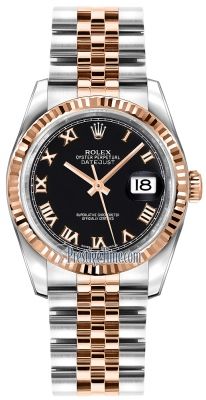 Rolex Datejust 36mm Stainless Steel and Rose Gold 116231 Black Roman Jubilee