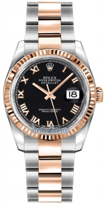 Rolex Datejust 36mm Stainless Steel and Rose Gold 116231 Black Roman Oyster