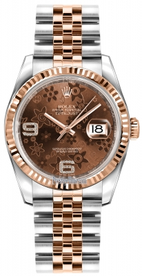Rolex Datejust 36mm Stainless Steel and Rose Gold 116231 Chocolate Floral Jubilee