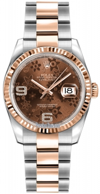 Rolex Datejust 36mm Stainless Steel and Rose Gold 116231 Chocolate Floral Oyster