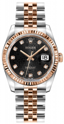 Rolex Datejust 36mm Stainless Steel and Rose Gold 116231 Jubilee Black Diamond Jubilee