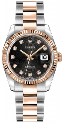 Rolex Datejust 36mm Stainless Steel and Rose Gold 116231 Jubilee Black Diamond Oyster