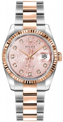 Rolex Datejust 36mm Stainless Steel and Rose Gold 116231 Jubilee Pink Diamond Oyster