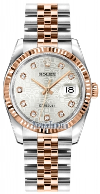 Rolex Datejust 36mm Stainless Steel and Rose Gold 116231 Jubilee Silver Diamond Jubilee