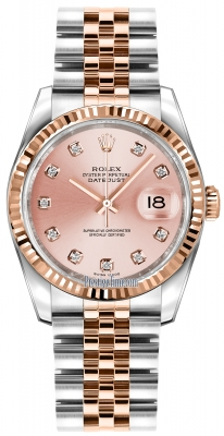 Rolex Datejust 36mm Stainless Steel and Rose Gold 116231 Pink Diamond Jubilee