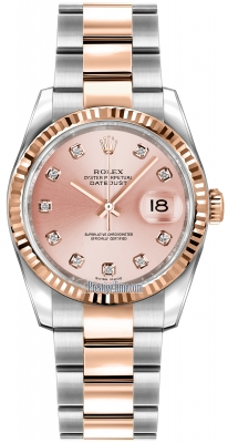 Rolex Datejust 36mm Stainless Steel and Rose Gold 116231 Pink Diamond Oyster