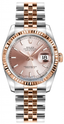 Rolex Datejust 36mm Stainless Steel and Rose Gold 116231 Pink Index Jubilee