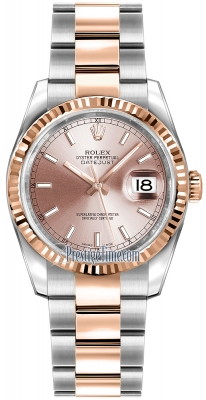 Rolex Datejust 36mm Stainless Steel and Rose Gold 116231 Pink Index Oyster