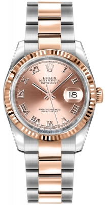 Rolex Datejust 36mm Stainless Steel and Rose Gold 116231 Pink Roman Oyster