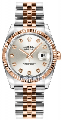 Rolex Datejust 36mm Stainless Steel and Rose Gold 116231 Silver Diamond Jubilee
