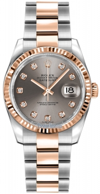 Rolex Datejust 36mm Stainless Steel and Rose Gold 116231 Steel Diamond Oyster