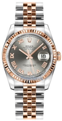 Rolex Datejust 36mm Stainless Steel and Rose Gold 116231 Steel Roman Jubilee