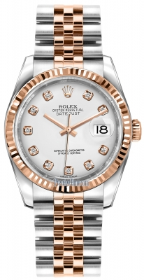 Rolex Datejust 36mm Stainless Steel and Rose Gold 116231 White Diamond Jubilee