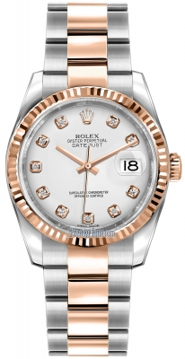 Rolex Datejust 36mm Stainless Steel and Rose Gold 116231 White Diamond Oyster