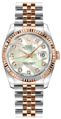 Rolex Datejust 36mm Stainless Steel and Rose Gold 116231 White MOP Diamond Jubilee