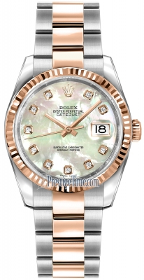 Rolex Datejust 36mm Stainless Steel and Rose Gold 116231 White MOP Diamond Oyster