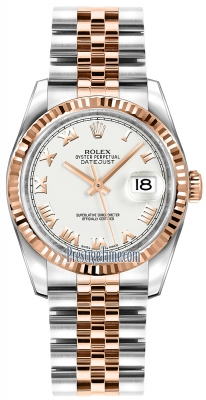 Rolex Datejust 36mm Stainless Steel and Rose Gold 116231 White Roman Jubilee