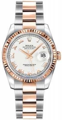 Rolex Datejust 36mm Stainless Steel and Rose Gold 116231 White Roman Oyster