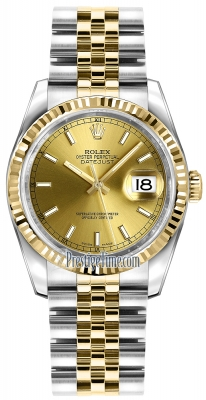 Rolex Datejust 36mm Stainless Steel and Yellow Gold 116233 Champagne Index Jubilee