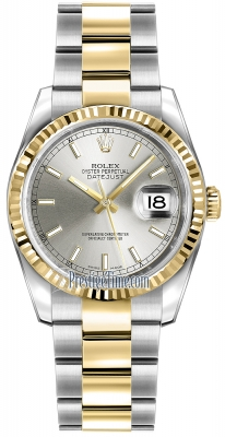 Rolex Datejust 36mm Stainless Steel and Yellow Gold 116233 Silver Index Oyster