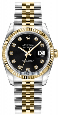 Rolex Datejust 36mm Stainless Steel and Yellow Gold 116233 Black Diamond Jubilee