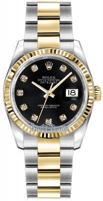 Rolex Datejust 36mm Stainless Steel and Yellow Gold 116233 Black Diamond Oyster