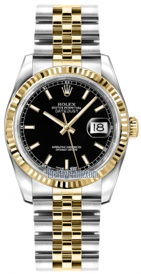 Rolex Datejust 36mm Stainless Steel and Yellow Gold 116233 Black Index Jubilee