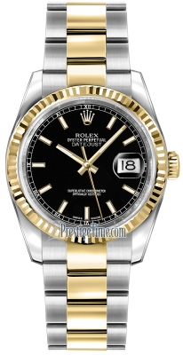 Rolex Datejust 36mm Stainless Steel and Yellow Gold 116233 Black Index Oyster