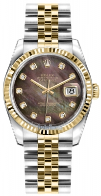 Rolex Datejust 36mm Stainless Steel and Yellow Gold 116233 Black MOP Diamond Jubilee