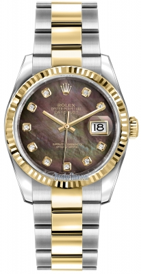 Rolex Datejust 36mm Stainless Steel and Yellow Gold 116233 Black MOP Diamond Oyster