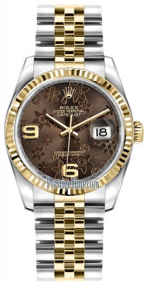 Rolex Datejust 36mm Stainless Steel and Yellow Gold 116233 Bronze Floral Jubilee