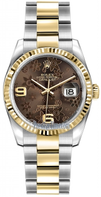 Rolex Datejust 36mm Stainless Steel and Yellow Gold 116233 Bronze Floral Oyster