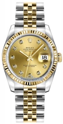 Rolex Datejust 36mm Stainless Steel and Yellow Gold 116233 Champagne Diamond Jubilee