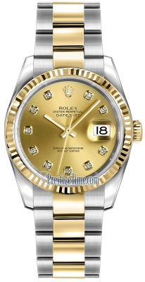 Rolex Datejust 36mm Stainless Steel and Yellow Gold 116233 Champagne Diamond Oyster