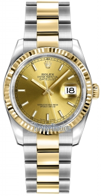 Rolex Datejust 36mm Stainless Steel and Yellow Gold 116233 Champagne Index Oyster