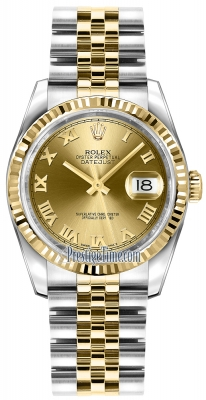 Rolex Datejust 36mm Stainless Steel and Yellow Gold 116233 Champagne Roman Jubilee
