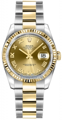 Rolex Datejust 36mm Stainless Steel and Yellow Gold 116233 Champagne Roman Oyster