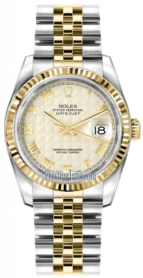 Rolex Datejust 36mm Stainless Steel and Yellow Gold 116233 Ivory Pyramid Roman Jubilee