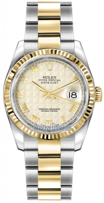 Rolex Datejust 36mm Stainless Steel and Yellow Gold 116233 Ivory Pyramid Roman Oyster