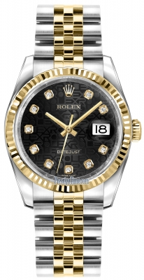 Rolex Datejust 36mm Stainless Steel and Yellow Gold 116233 Jubilee Black Diamond Jubilee