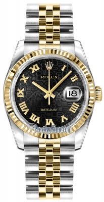 Rolex Datejust 36mm Stainless Steel and Yellow Gold 116233 Jubilee Black Roman Jubilee