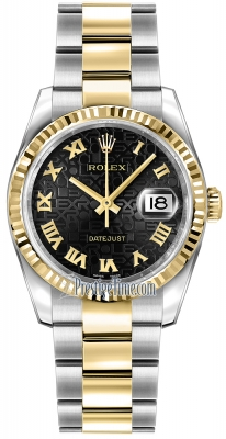 Rolex Datejust 36mm Stainless Steel and Yellow Gold 116233 Jubilee Black Roman Oyster