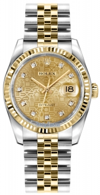 Rolex Datejust 36mm Stainless Steel and Yellow Gold 116233 Jubilee Champagne Diamond Jubilee