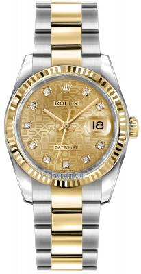 Rolex Datejust 36mm Stainless Steel and Yellow Gold 116233 Jubilee Champagne Diamond Oyster